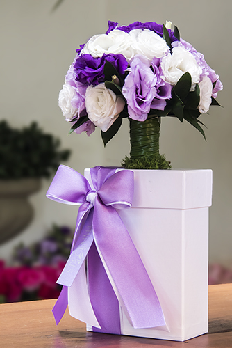 Lisianthus lilases e brancos